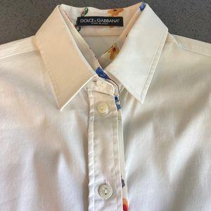 Dolce & Gabbana - White shirt - floral collar